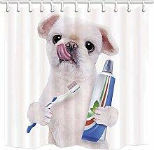 Tende da doccia per cani, simpatico cane bianco