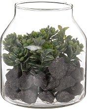 Terrario in vetro e pianta grassa artificiale