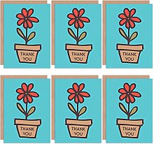 Thank You Cards 6 Pack - Flower Floral Pot Plant