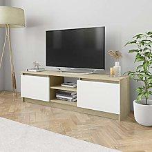 Tidyard Mobile Porta TV Bianco e Rovere Sonoma in