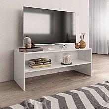 Tidyard Mobile Porta TV Bianco in Truciolato, con