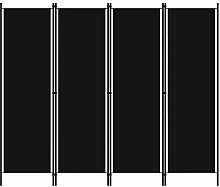 Tidyard Paravento a 4 Pannelli Nero 200x180