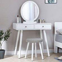 Toilette con specchio e sgabello,2 cassetti,80 ×