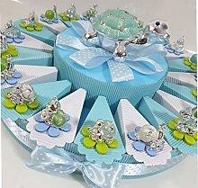 (Torta + 20 fette + 20 bomboniere+salvadanaio