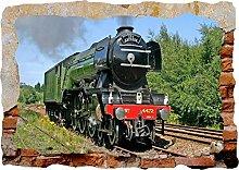 Treno 3d fracassato Wall Sticker Poster vinile