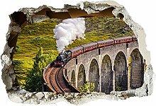 Treno a vapore 3d fracassato Wall Sticker Poster