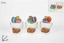 Tris Set 3 Barattoli In Ceramica Decorativi