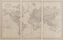 Trittico cartina del mondo, 159x101 cm