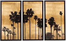 Trittico palme nero e dorato, 164x105 cm