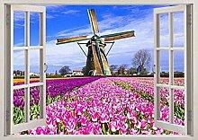 Tulipani Natura Mulino a vento Paesi Bassi 3D Wall