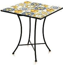 Tuscany Tavolo In Metallo Quadrato Con Mosaico 83
