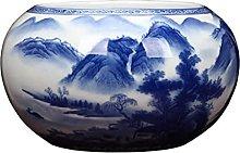 TYMBBB Vaso dipinto a mano blu e bianco in