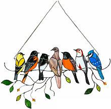 Uccelli multicolori su un filo High Stained Glass