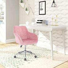 Ufficio Sgabello con schienale velluto rosa