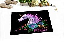 Unicorno ricamo fiori Indoor antiscivolo porta