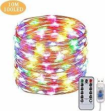 USB Luci Led Natale 10M 100 LEDs Telecomando Filo