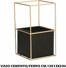 VASO CEMENTO + METALLO CM.13X13X23h