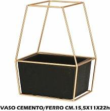 VASO CEMENTO + METALLO CM.15,5X11X22h
