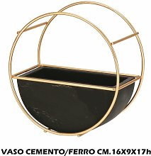 VASO CEMENTO + METALLO CM.16X9X17h