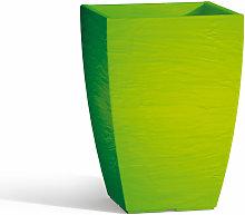 Vaso Con Sottovaso Aloe In Resina Quadr. Verde