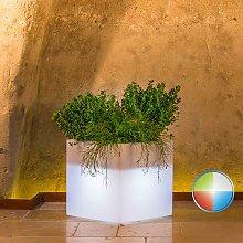 Vaso Cube In Resina Quadrato H40 Led Multicolor