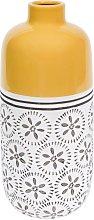 Vaso giallo con motivi in ceramica H30