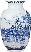 Vaso in ceramica blu e bianca cinese classica per