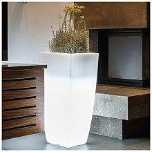 Vaso luminoso da giardino in resina bianca per