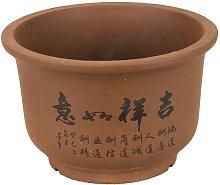 Vaso per bonsai rotondo in gres 12x12x8 cm - B098c