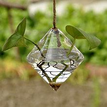 Vaso sospeso in vetro trasparente geometrico a