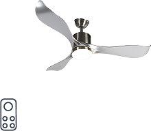 Ventilatore da soffitto acciaio LED e telecomando