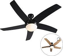 Ventilatore da soffitto nero con telecomando -