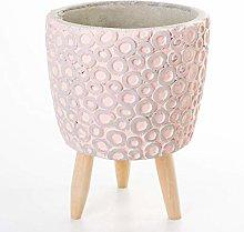 Veramaya Anello con i Piedi Vaso di Cemento Rosa