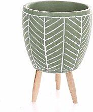 Veramaya Foglia a Piedi Vaso di Cemento Verde a
