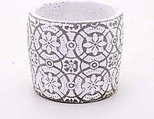 Veramaya Vaso di Cemento Bianco Geometric Flower