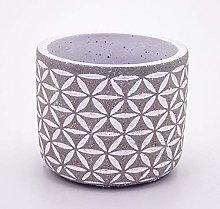 Veramaya Vaso di Cemento Fiore Bianco Motif 14x12