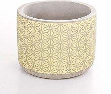 Veramaya Vaso di Cemento Giallo a Stella 12x9,5 Cm