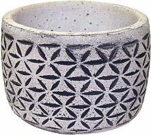 Veramaya Vaso di Cemento Nero Floral Motif 12x9 Cm