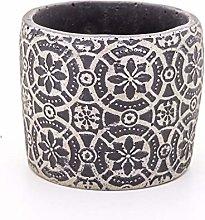 Veramaya Vaso di Cemento Nero Geometric Flower