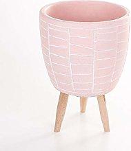 Veramaya Vaso di Cemento Rosa Footed Wall Pattern