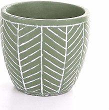 Veramaya Vaso di Cemento Verde a Strisce 13,5x12,5