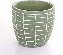 Veramaya Vaso di Cemento Verde con Motivo a Parete