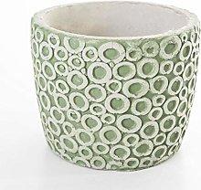 Veramaya Vaso di Cemento Verde con Motivo ad