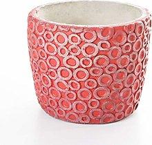 Veramaya Vaso di Fiori di Cemento Rosso con Motivo