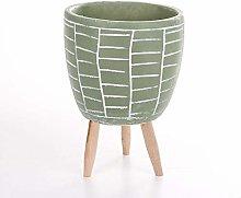 Veramaya Vaso di Fiori di Cemento Verde con Motivo