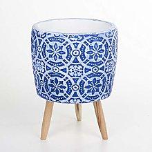 Veramaya Vaso in Cemento Blu con Motivo Floreale