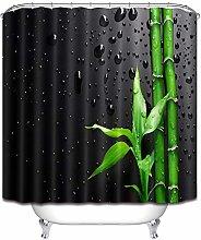Verde bambù gocce d'acqua nero semplice tenda