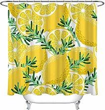 Verde foglia limone modello stampa HD, bagno tenda