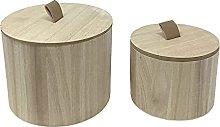 Vetrineinrete® Set 2 scatole Rotonde in Legno per