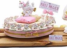 VialeMagico Bomboniera Nascita Torta con Unicorno